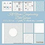 Kit Album Scrapbooking Bébé Garçon 20,5 x 20,5 cm, 15 feuilles, 30 éléments...