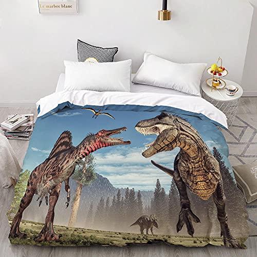 3D Dinosaurios Impreso 3 Piezas Juego De Cama PoliéSter JuráSico Animales EdredóN Funda Adulto Adolescente NiñO NiñA Juego De Cama Dormitorio (Funda NóRdica 200x200cm, Funda Almohada 50x80cmx2)