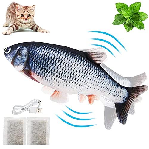 VZATT Katzenspielzeug Elektrisch Fisch, Katzenminze Fischspielzeug mit USB Aufladbar, Interaktives Plüsch Katzenspielzeug Zappelnder Fisch Spielzeug für Katzen zu Spielen, Beißen, Kauen und Treten