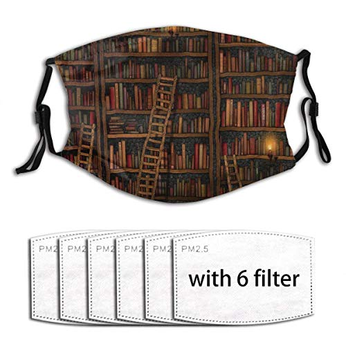 Library Bookshelf Vintage Reusable Cloth Face Mask Pocket Nose Wire Comfortable Mouth Protective