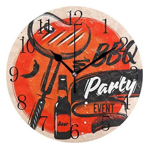 FELIZM leise Wanduhr Grillparty Bier 25 cm nicht tickend batteriebetrieben leise Bewegung Dekoration Uhr für Schlafzimmer Kinderzimmer, multi, Black Pointer