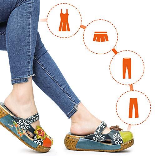 gracosy Zuecos Cuero Mujer, Zapatos Cuña Verano 2020 Tacon Plataforma Bohemias Casual Boda Fiesta Sandalias Mules Vestir con Flor Niña Azul Rojo Verde Gris Grandes