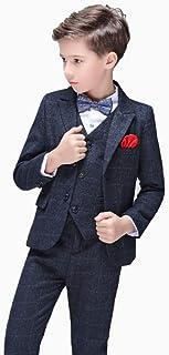 JKTOWN ボーイズ 男の子 スーツ 洋服 コート ジャケット ズボン ベスト シャツ 4点セット キッズ 入学式 入園式 発表会 結婚式 七五三 撮影 チェック柄 フォーマル 2-9歳