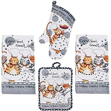 4 Piece Happy Cat Kitchen Set - 2 Terry Towels, Oven Mitt, Potholder