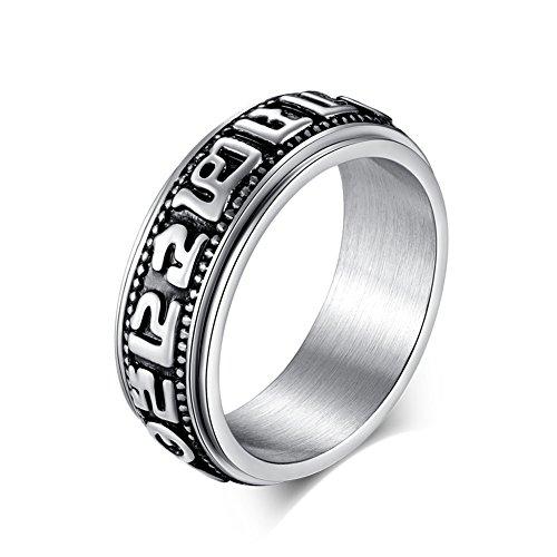 JAJAFOOK Stainless Tibetan Buddhist Six True Syllable Mantra Sanskrit Om Mani Padme Hum Spinner Ring