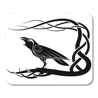 N\A Alfombrilla de ratón Semtomn Gaming Celtic Pagan Raven Crow Mitología Animales Pájaro Nudo Negro Decoración Oficina An...