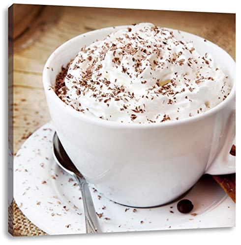 Koffie met veel slagroomCanvas Foto Plein | Maat: 70x70 cm | Wanddecoraties | Kunstdruk | Volledig gemonteerd