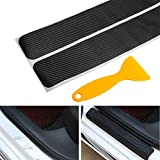 big-autoparts 4 Pack Door Sill Protector 3D Carbon Fiber Anti-Scuff Sticker Door Threshold Guard for Car, SUV, Off-Road, Black