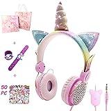 WIKEA Auriculares Unicornio para Niños, Auriculares Lindos con Cable 85dB Volumen Limitado, Regalos Originales para Niños, Navidad/Regalo de Cumpleaños para Niñas