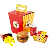 Onshine Wooden Fast Food Toy Set for Kids Burger Fries Food Play Set-26pcs