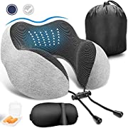 VASLON Travel Neck Pillow, Soft and Comfortable Memory Foam Neck Cushion, Head & Chin Support Travel Pillow Machine Washable 100% Cotton Cover for Travelling Flying Airplane Flight Car Bus Train Ride, with 3D Eye Mask, Earplugs & Luxury Bag
