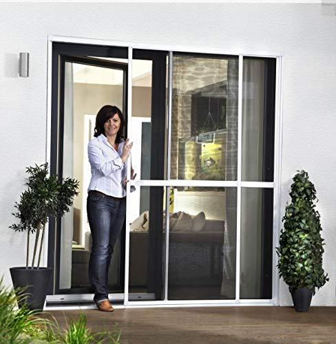 Insektenschutz Balkontür Schiebetür Doppelschiebetür   Fliegengitter Tür 230x240 cm in braun   Premium Fliegengitter Rahmen & Mückenschutz ist idealer Fliegenvorhang für Terrassentür