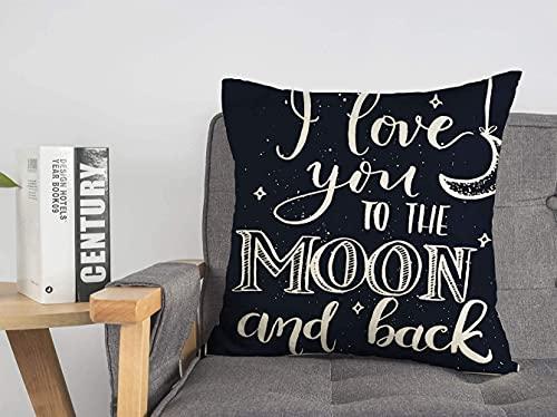 Funda de almohada decorativa de lino con eslogan de astronomía, amor, letras en la espalda, cielo, I a vacaciones, rama, frase, tiza, cometa, fecha, día, suave, cuadrado, cojín, para sofá, silla, dor