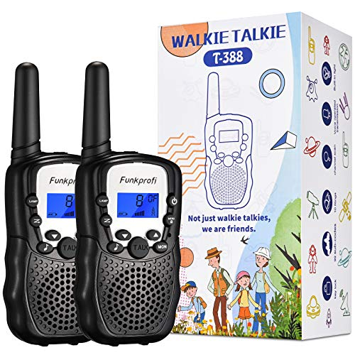 Funkprofi Walkie Talkies for Kids, 3 KMs Long Range 22 Channels Rechargeble Two Way Radios for Boys and Girls, Walky Talky for Age 3-12 Years Old Kids, Outside Play Toys for Hiking Camping (Black)