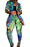 2 Piece Outfits for Women Animal Print Long Sleeve Blazer and Skinny Long Pants Set Clubwear
