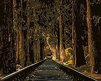 QHZSFF 番号でペイント,列車のトラック 絵画デジタル絵画油絵 数字キットによる絵画手塗り DIY絵 デジタル油絵塗り絵 クリスマスプレゼント キッズバースデーギフト40x50cm (フレームレス)