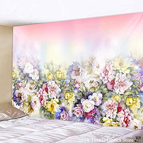 LLXJLUCKY Cuadro de Flores Tapiz botánico para Colgar en la Pared, tapices Bohemios, Colorido Boho, decoración del hogar, 130X150CM