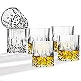 JOLIGAEA Vaso de Whisky, Juego de 6 Whisky de Cristal de 300ml Cristal Sin Plomo para Whisky, Vasos Whisky gafas de bar para Cóctel Whisky Escocés Bourbon (B)