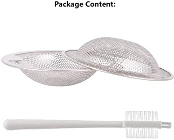 Qtimal 2PCS Kitchen Sink Strainer Basket Catcher with Upgrade Handle, Anti-Clogging Stainless Steel Drain Filter Stra...