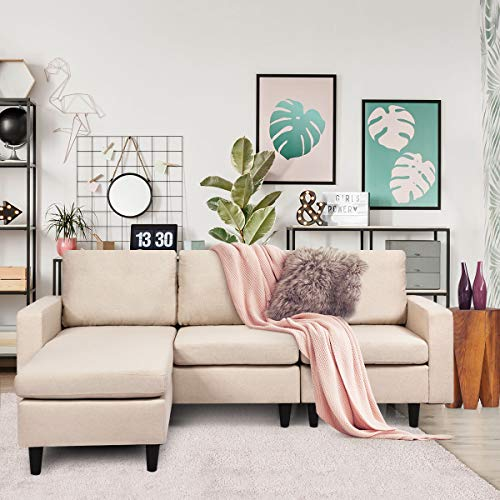 Giantex Convertible Sectional Sofa Couch w/Back Cushion, L-Shaped Sofa Couch Plus Reversible Chaise, Linen Fabric Loveseat Couch for Small Space (Beige)