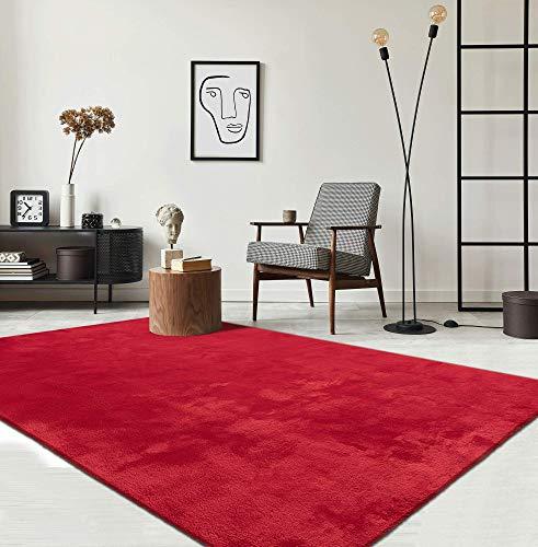 Relax Moderner Flauschiger Kurzflor Teppich, Anti-Rutsch Unterseite, Waschbar bis 30 Grad, Super Soft, Felloptik, Rot, 160 x 230 cm