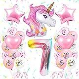 SPECOOL Unicornio Decoración de Cumpleaños 7 Años, Globo de Unicornio 3D con Pancarta de Cumpleaños Numero 7 Cumpleaños Globos Latex Globos para Decoracion de Fiesta de Cumpleaños Niña