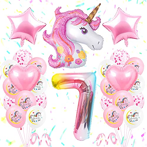 SPECOOL Unicornio Decoración de Cumpleaños 7 Años, Globo de Unicornio 3D con...
