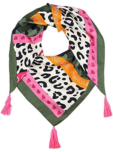 Zwillingsherz Dreieckstuch Camouflage-Leo-Design- nachhaltig - Eleganter Frühlingsschal – Tuch für Frauen Damen Mädchen - Hochwertiger Freizeitschal - Halstuch Stola - Frühjahr Sommer Herbst