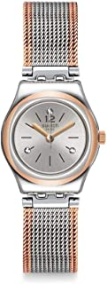 Swatch YSS327M Two-Tone Mesh Stainless Steel Round Analog Watch for Women - Silver and Rose Gold