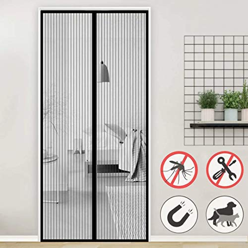 Aiyaoo Fliegengitter Teller 130x215cm Luft kann frei strömen Starker Mangnetverschluss Insektenschutz Mehrere Größen für Balkontür Wohnzimmer Terrassentür - Schwarz