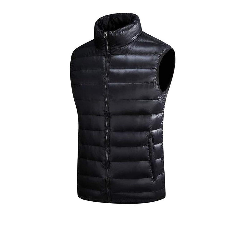 冬メンズダウンベストルーズ軽量カジュアルスポーツベストダウンジャケット (色 : 黒, サイズ さいず : M)