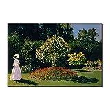 Five-Seller Arte De La Pared Mujer En El Jardín por Claude Monet Lienzo Pinturas Famosas Reproducción De Arte Impreso En Lienzo Ilustraciones para Decoraciones para El Hogar (90_x_140_cm)