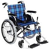 ZXL@ED Aluminiumlegierung Licht Folding Manueller Rollstuhl, 4 Handbremse Multiple Schutz + Luftreifen Big Wheel + Doppellager- Dämpfungs-System Armlehne -