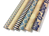 Note Card Cafe Kraft All Occasion Wrapping Paper | 6 Pack | 30 x 120 inch Rolls | Blue, Cream | for Birthdays, Weddings, Showers, Gifts, Holidays, Christmas | Recyclable, Biodegradable