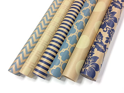 Note Card Cafe Bella Kraft All Occasion Wrapping Paper | 6 Pack | 30 x 120 inch rolls | Blue, Cream | For Birthdays, Weddings, Hanukkah, Showers, Gifts, Holidays, Christmas | Recyclable, Biodegradable