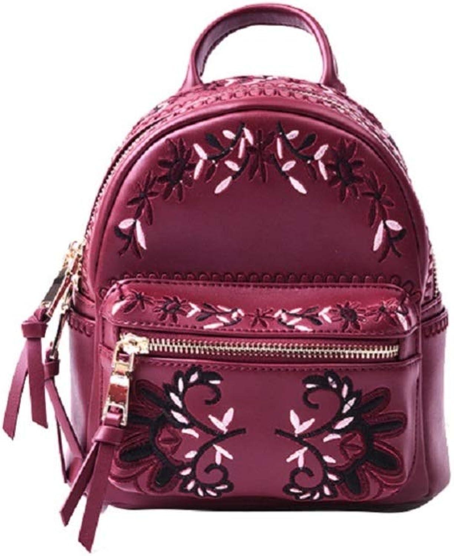 FJTHY Damen Tasche Bestickt Damen Rucksack Mini Leder Rucksack Geschenk Freundin,rot,Einheitsgre