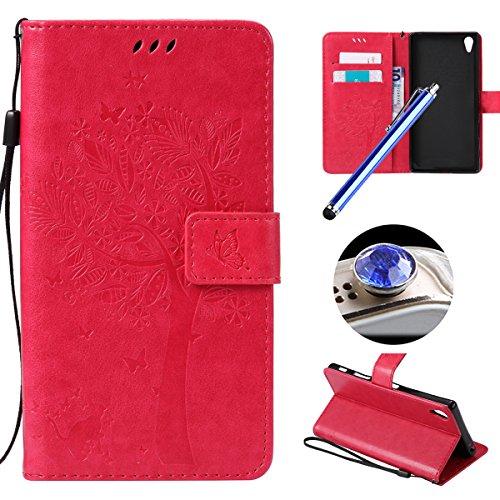Sony Xperia Z5 plus Coque,Etsue Fine Folio Cuir Coque de Téléphone Mobile pour Sony Xperia Z5 plus,Raffinement Degré Supérieur Mode Leather Case étui [Relief Arbre Rose Red Motif] pour Sony Xperia Z5 plus,Carte de Visite Dossier Fonction Support Portefeuille Pochette Housse en Cuir pour Sony Xperia Z5 plus avec Lanière Cadeaux Gratuit + 1 x Bleu stylet + 1 x Bling poussière plug (couleurs aléatoires)