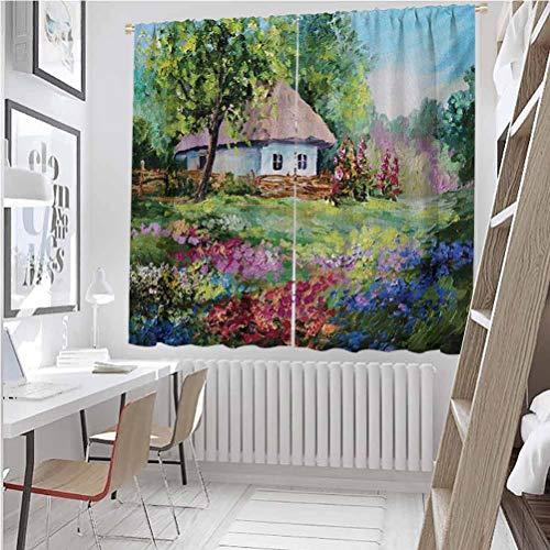Toopeek - Cortina aislante para sombra rústica, casa de piedra y jardín pequeño con valla de madera, diseño de flores de primavera de colores, sombra insonorizada, 52 x 84 pulgadas, multicolor