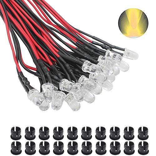 KeeYees 20Pcs 5mm Leds mit 20cm Kabel DC 12V Led Fertig Verkabelt + 20Pcs 5mm LED Montageringe Plastik (Warmweiß)