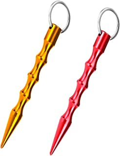 الدفاع الذاتي سلسلة مفاتيح حلقة الألومنيوم مكافحة الذئب القلم التكتيكي للنساء الرجال 2 حزمة