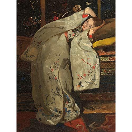 Breitner Meisje In Een Witte Kimono Schilderen Ingelijste Muur Kunst Print 18X24 In