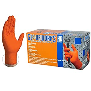 AMMEX Gloveworks HD Industrial Orange Nitrile Gloves with Diamond Texture Grip, Box of 100, 8 mil, Size Large, Latex Free, Powder Free, Textured, Disposable, GWON46100-BX