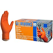 AMMEX HD Nitrile Disposale Gloves - 8 Mil, Industrial, Extra Thick, Diamond Texture, Powder Free, Ambidextrous, Orange, XLarge, Box of 100