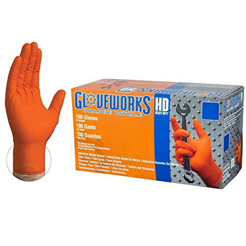 AMMEX Gloveworks HD Industrial Orange Nitrile Gloves with Diamond Texture Grip, Box of 100, 8 mil, Size Medium, Latex Free, Powder Free, Textured, Disposable, GWON44100-BX
