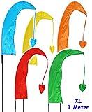 alles-meine.de GmbH 3 Stück _ XL - 1 m - Windfahnen / Balifahnen -  bunter Farbmix  - mit Fahnenstange - UV-beständig & wetterfest - Windrichtungsanzeige - aus Nylon / Flagge W..