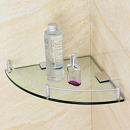 DFGER Estantes de Baño Estante de Vidrio Estantes de baño Triángulo Artículos de Aseo Titular de Vidrio Organizador de Almacenamiento Montaje de Pared, Acero Inoxidable Cepillado (Size : 20cm)