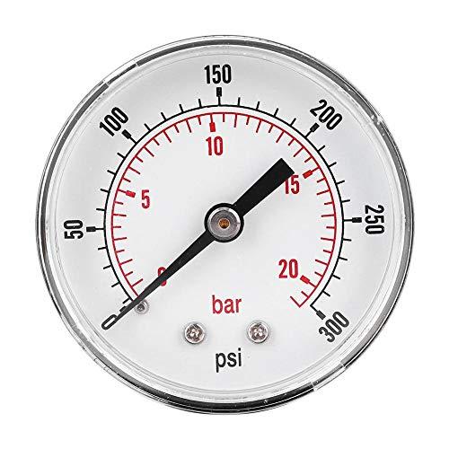 Manómetro de presión de aire, manómetro de presión Conexión trasera del manómetro, para aire, agua,(0-300psi 0-20bar)