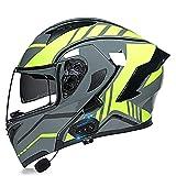 Cascos modulares de la motocicleta ECE/DOT certificación Bluetooth Flip Up Cascos integrales Dual-altavoz Bluetooth auricular con micrófono para respuesta automátic(Size:XL (61-62CM),Color:Amarillo-A)