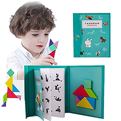 Wooden Tangram for Kids Magnetic Travel Pattern Puzzle Block Easel Book Brain Teasers Stacking Jigsaw Shape Dissection STEM Games with Solution Early Educational Learning IQ Toy Gift Adult Challenge