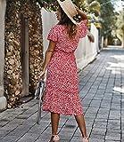 Photo de YWYW Robes De Femmes, Printemps Et Robes À Fleurs D'été, Lieu De Vacances, Jupe De Plage, Robe De Soirée, Robe Tempérament De Banlieue,Rouge,M